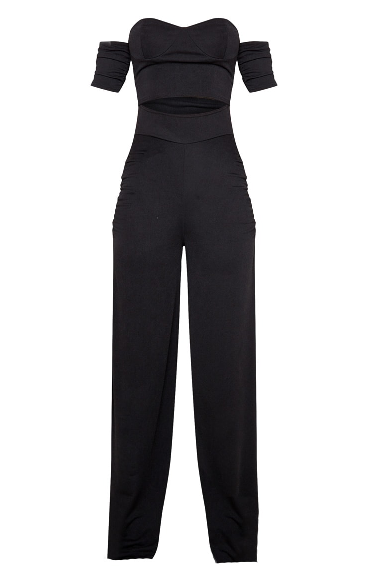 Black Cup Detail Ruched Pant Jumpsuit 3