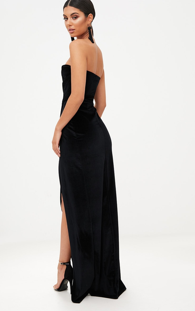 Black Velvet Draped Wrap Detail Bandeau Maxi Dress 2