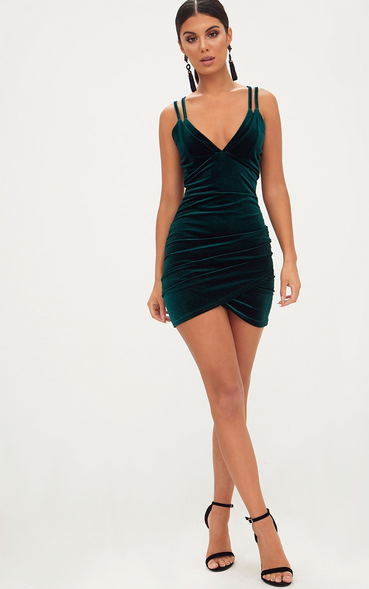 Emerald Green Velvet Double Strap Ruched Bodycon Dress 4