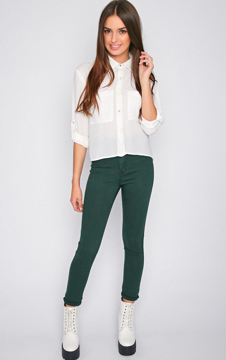 Dina Green High Waist Skinny Jean 1