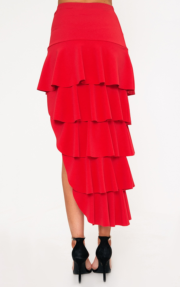 Red Tiered Split Maxi Skirt 4