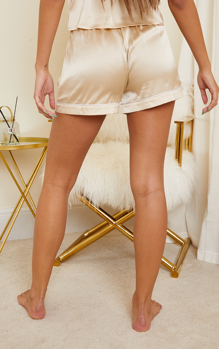 Champagne Mix And Match Piped Detail Satin PJ Shorts 3