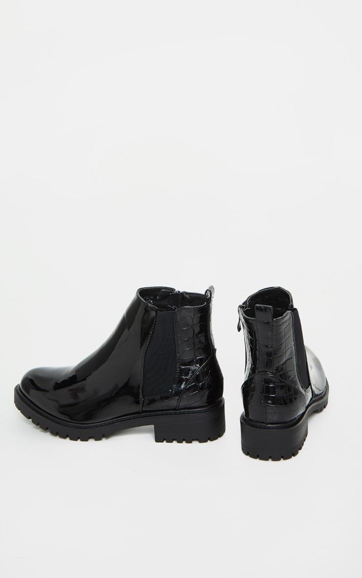 Black Patent Croc Panel Chelsea Boots 5