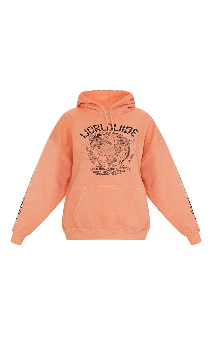 Orange Worldwide Slogan Oversized Hoodie 5