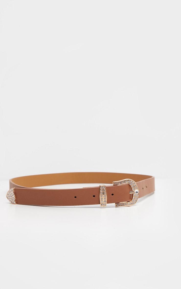 Tan Pu Small Gold Diamante Buckle Slim Belt                    1