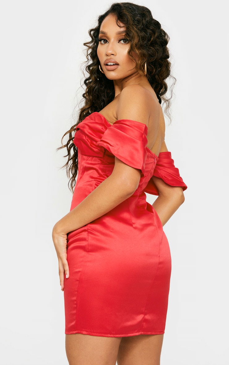 Petite Red Satin Bardot Corset Bodycon Dress 2