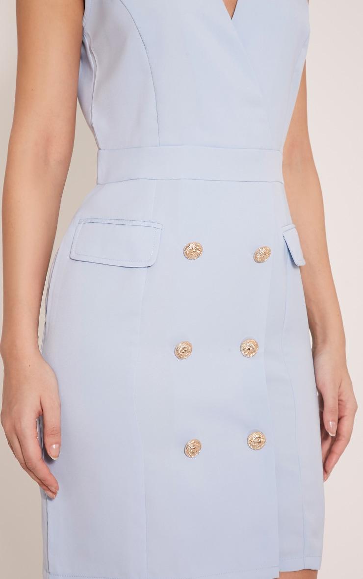 Keera Baby Blue Button Detail Blazer Dress 5