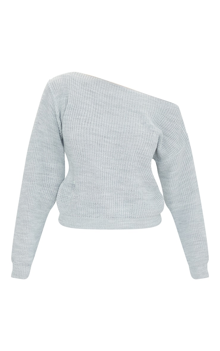 Christiana Grey Mixed Knit Slash Neck Crop Jumper 5
