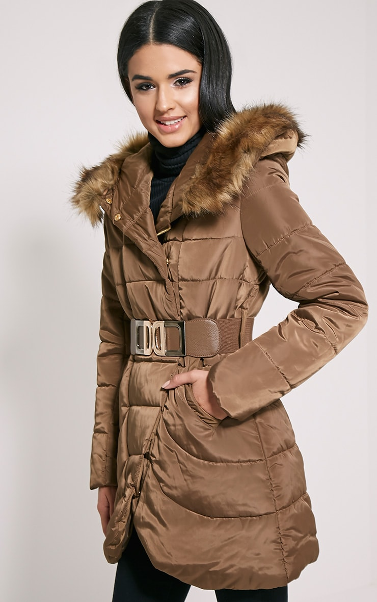 Ivanka Mocha Quilted Hooded Coat 1