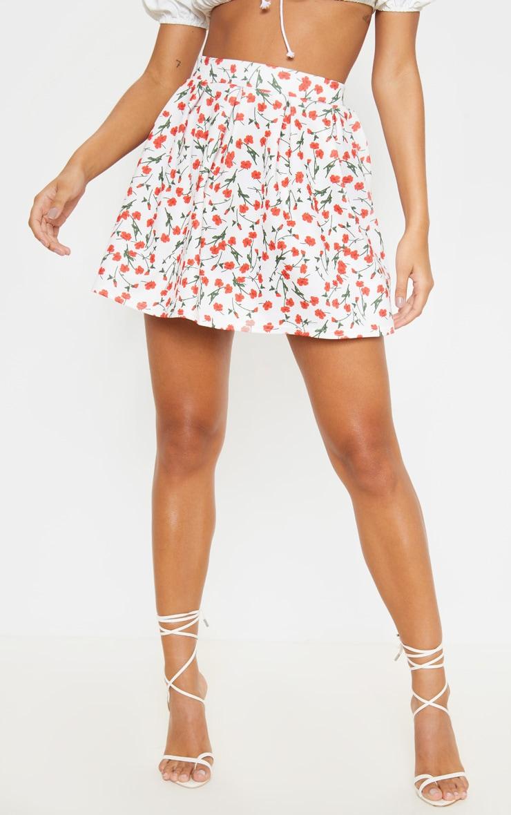 White Floral Print Pleated Waist Mini Skirt 2