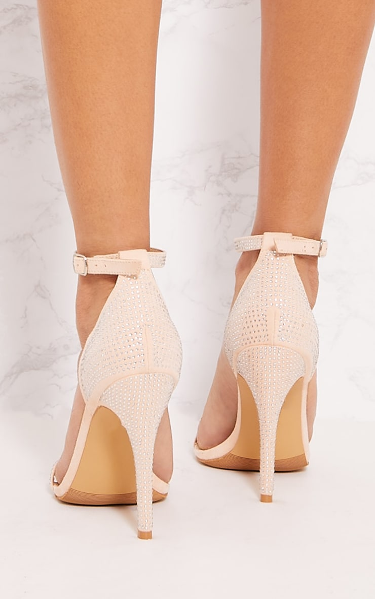Nude Diamante Barely There Heel Sandal 3