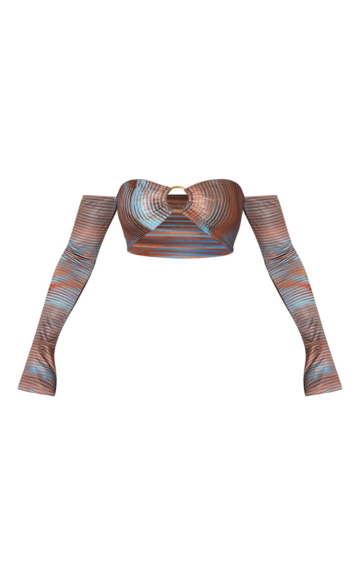 Light Blue Abstract Printed Slinky Ring Detail Bardot Long Sleeve Crop Top 5
