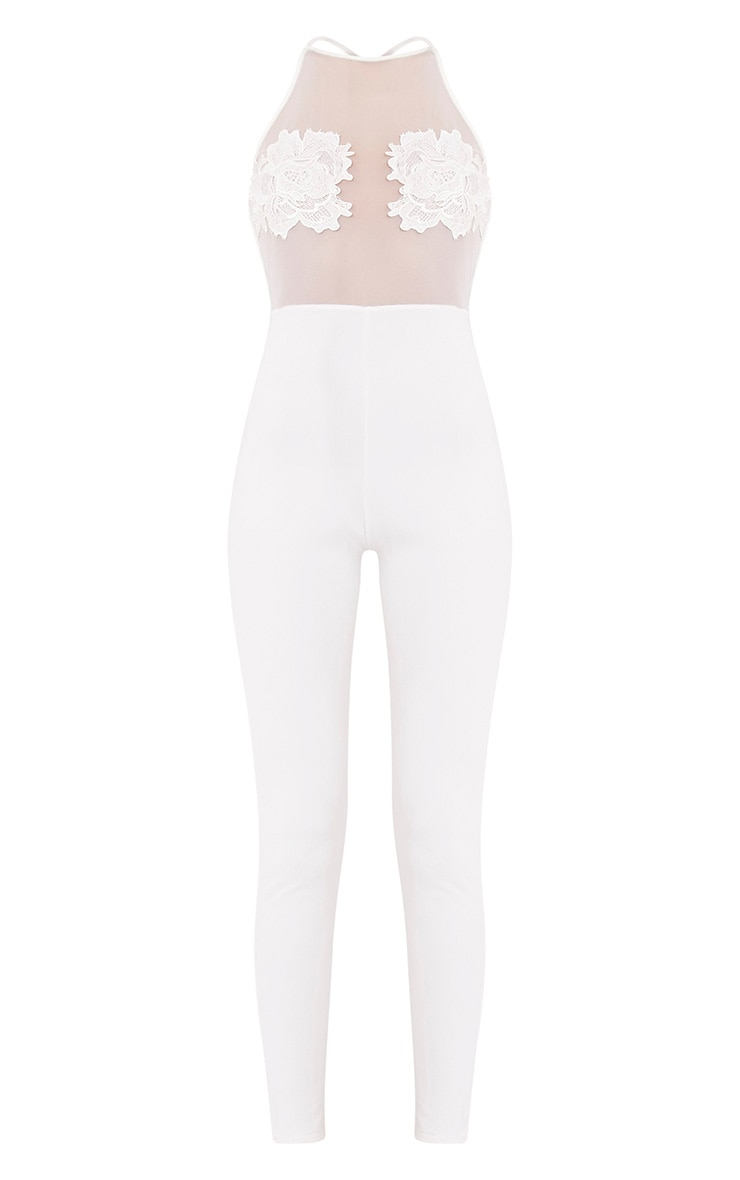 Nelly Cream Embroidery Mesh Jumpsuit 3