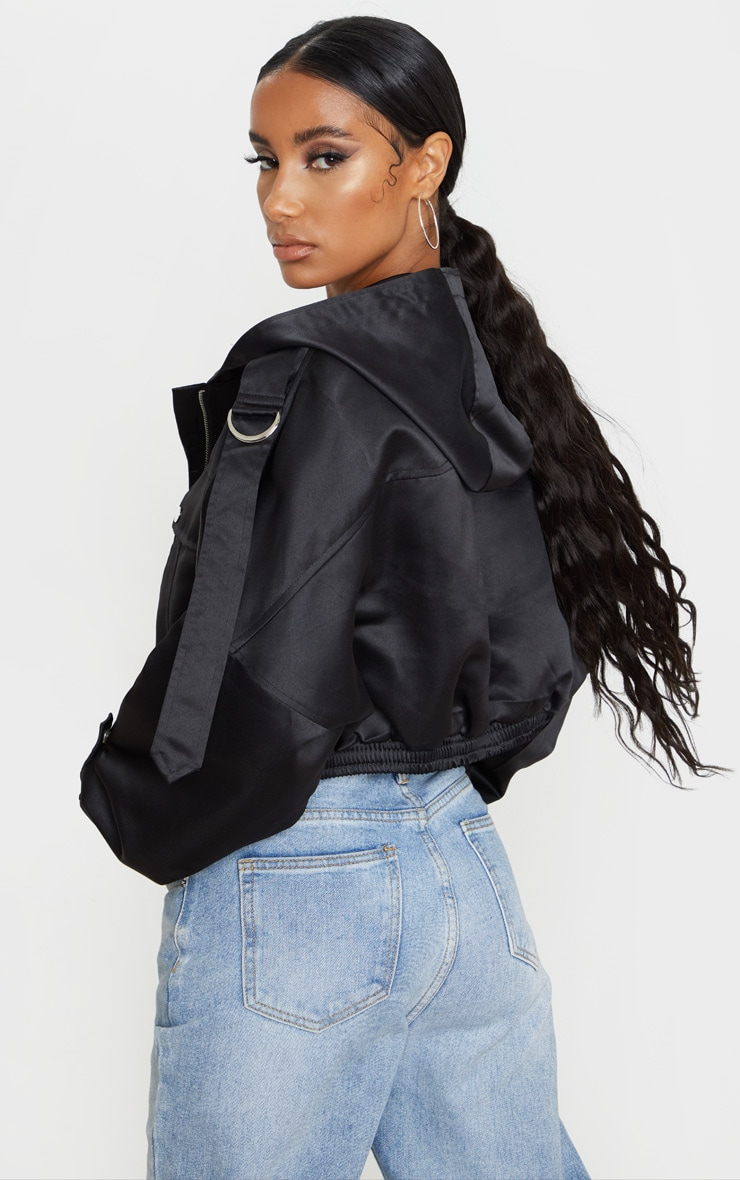 Black Satin Oversized Hooded Pocket Bomber Jacket 2