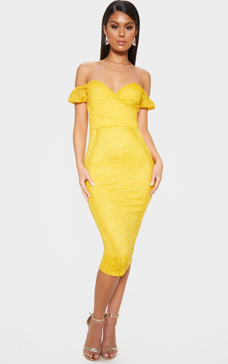 Mustard Lace Bardot Wrap Midi Dress 1