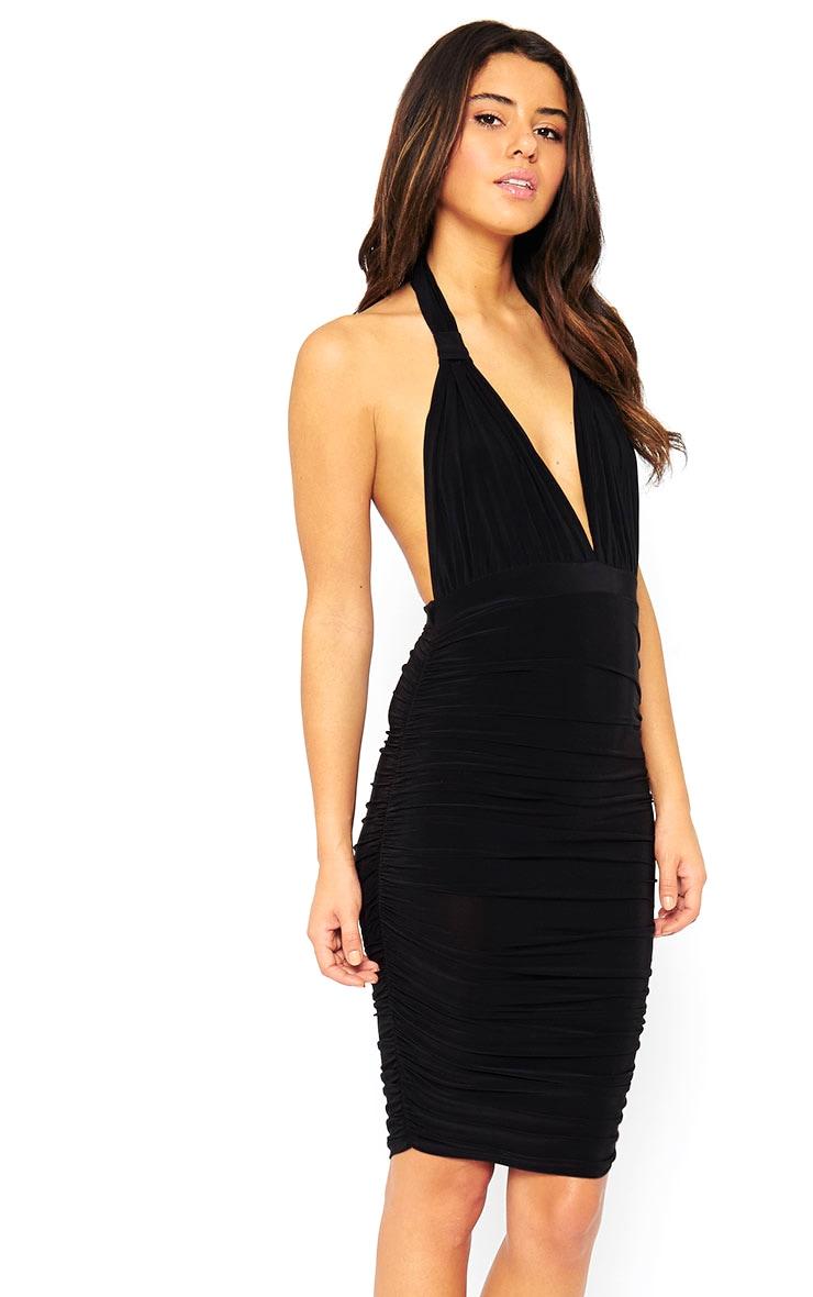 Ambrosia Black Plunge Neck Ruched Side Dress 4