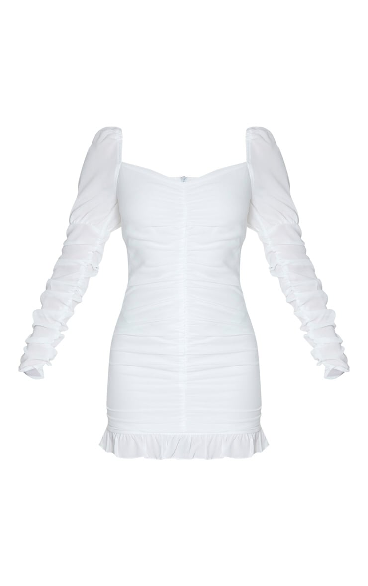 White Ruched Frill Hem Bodycon Dress 3