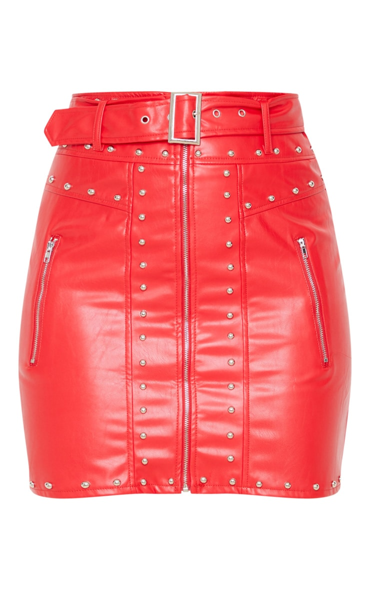 Red Faux Leather Stud Detail Belted Mini Skirt 3