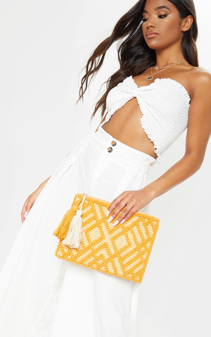 Orange Cotton Tassel Detail Clutch Bag 1
