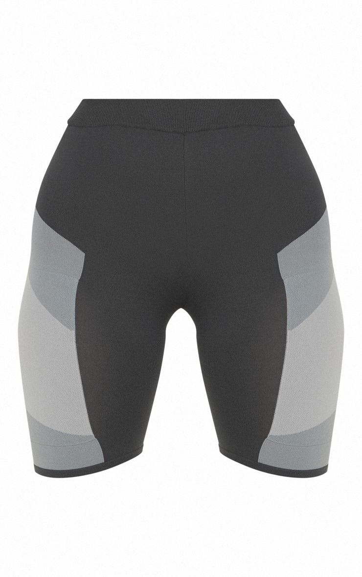 Grey Seamless Knit Panelled Gym Cycle Short 3