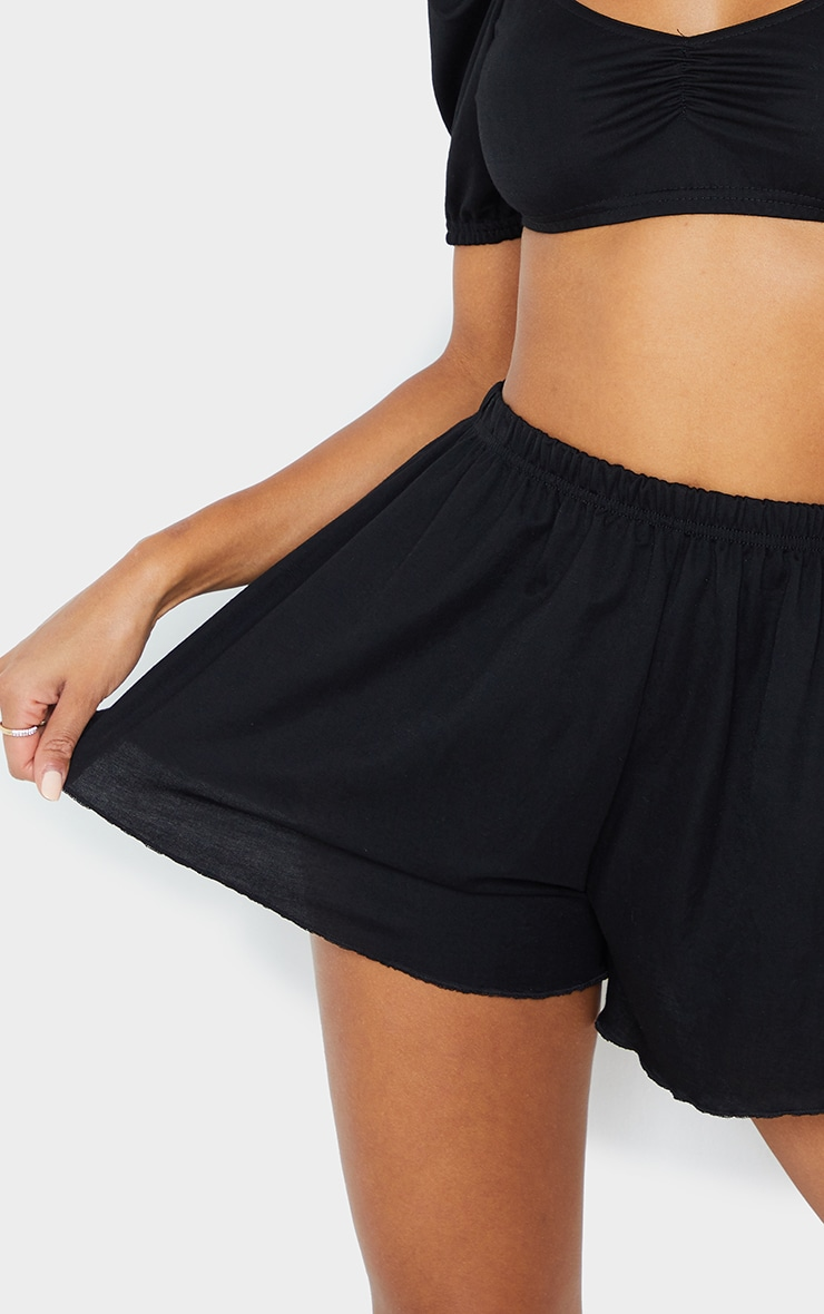 Black Linen Look Floaty Wide Leg Beach Shorts 5