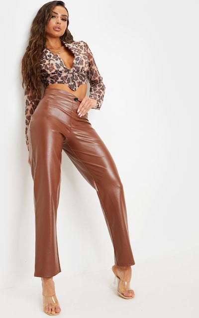 Tan Crop Straight Leg Trouser
