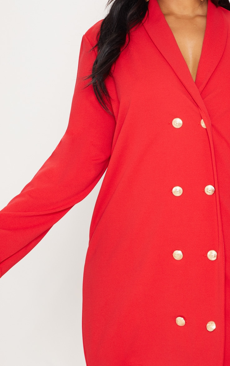 Plus Red Gold Button Oversized Blazer Dress 5