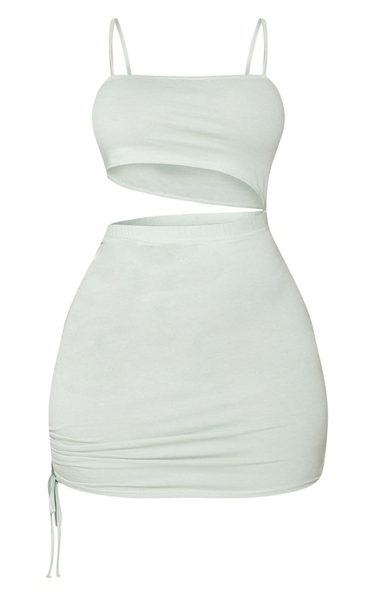 Shape Dark Mint Cotton Strappy Ruched Side Bodycon Dress 5