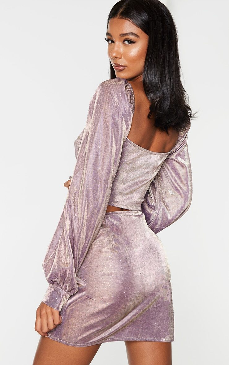 Lilac Textured Glitter Woven Square Neck Puff Sleeve Crop Top 2