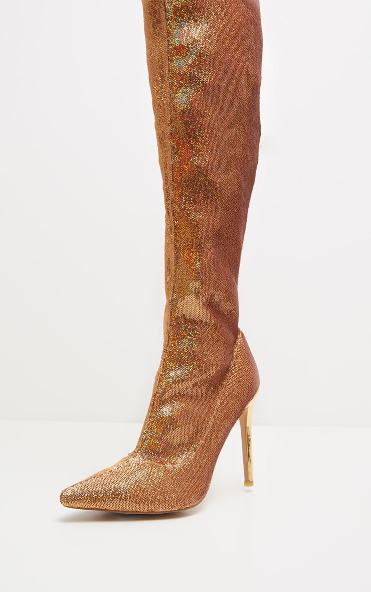 Gold Over The Knee Sequin Sock Boot  3