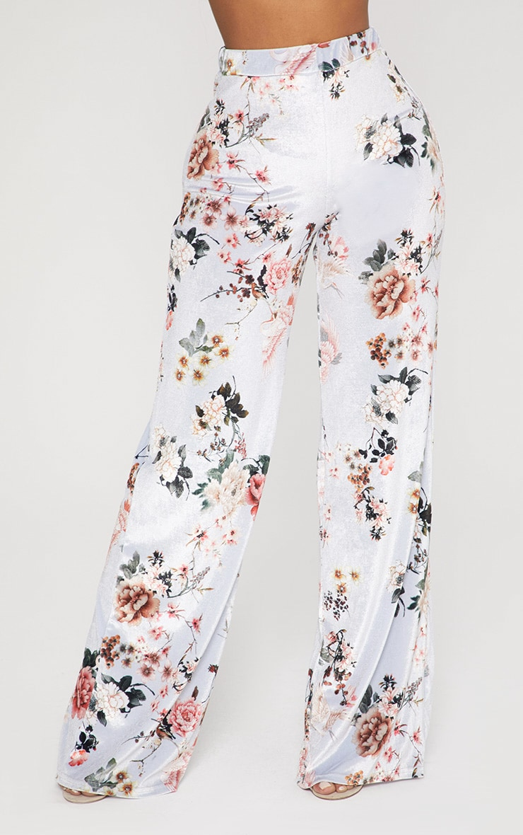 Shape Grey Velvet Floral Wide Leg Trousers 2