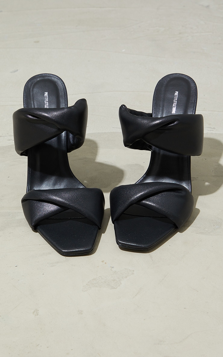 Black Square Toe Padded Twin Strap High Heel Mules 1