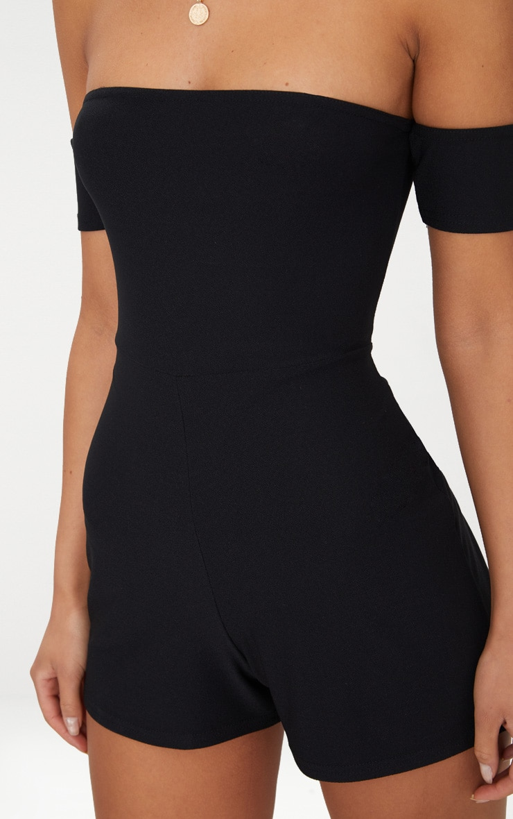 Black Crepe Short Sleeve Bardot Playsuit 4
