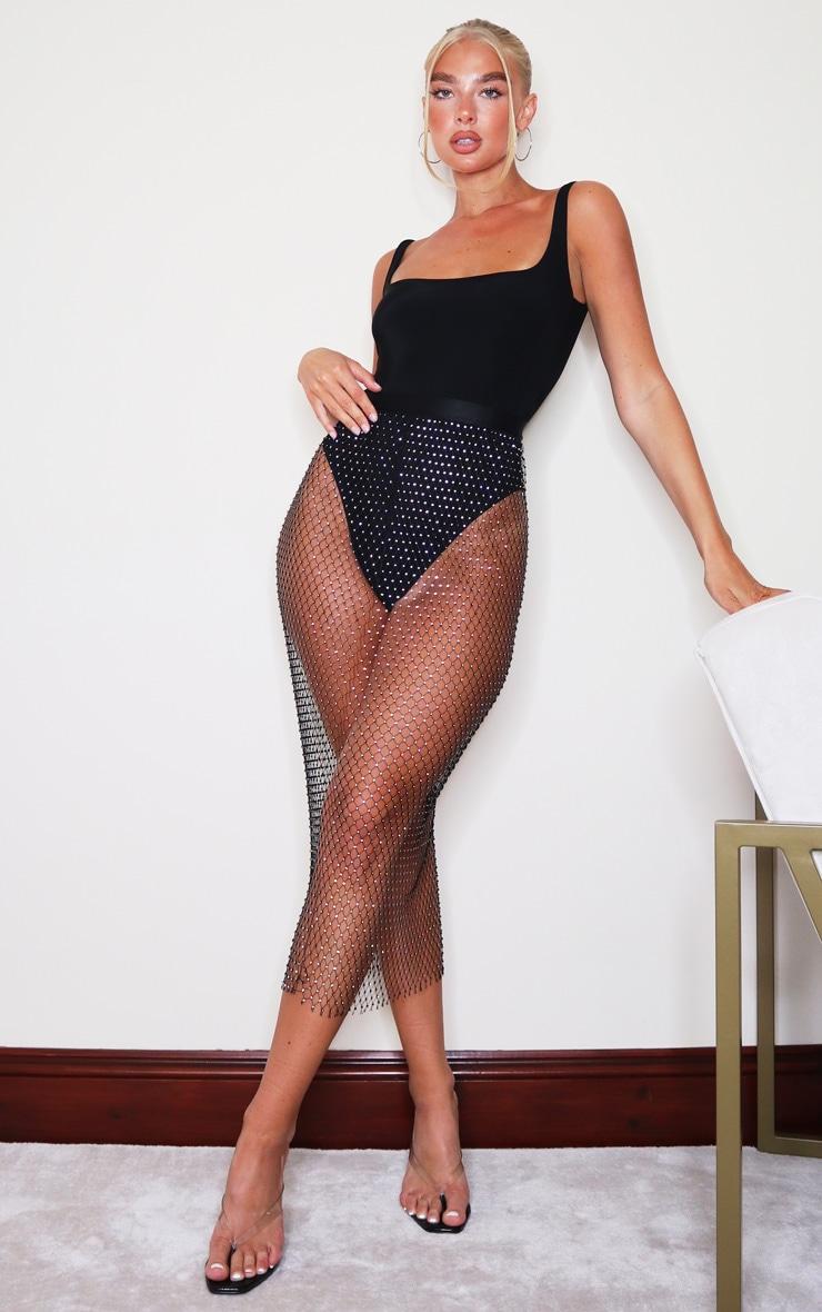 Black Mesh Diamante Midaxi Skirt 1