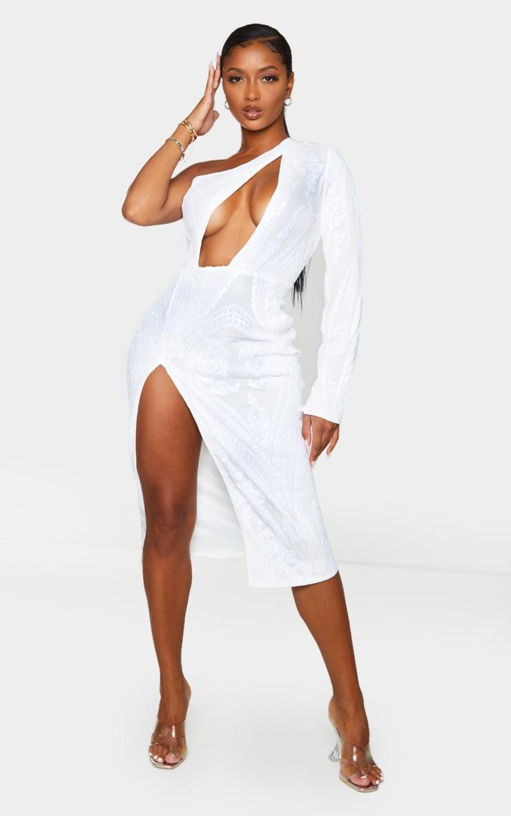 Shape Cream Embellished Cut Out Long Sleeve Split Midi Dress 1