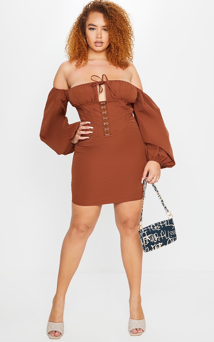 Plus Chocolate Brown Corset Detail Bardot Puff Sleeve Bodycon Dress 1