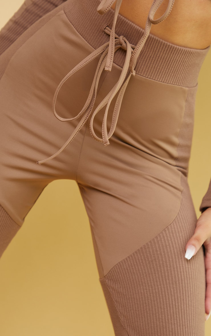 Brown Rib Detail Tie Front High Waist Gym Leggings 4