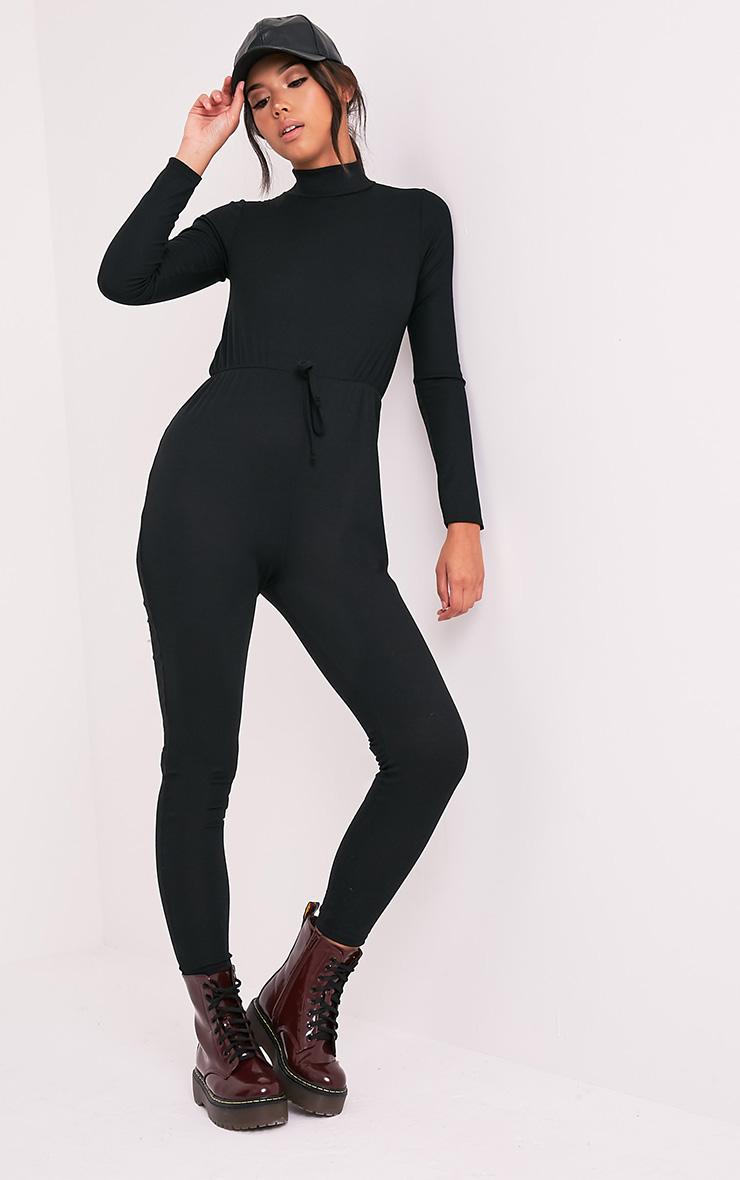 Tessie Black Long Sleeve Ribbed Jumpsuit 4