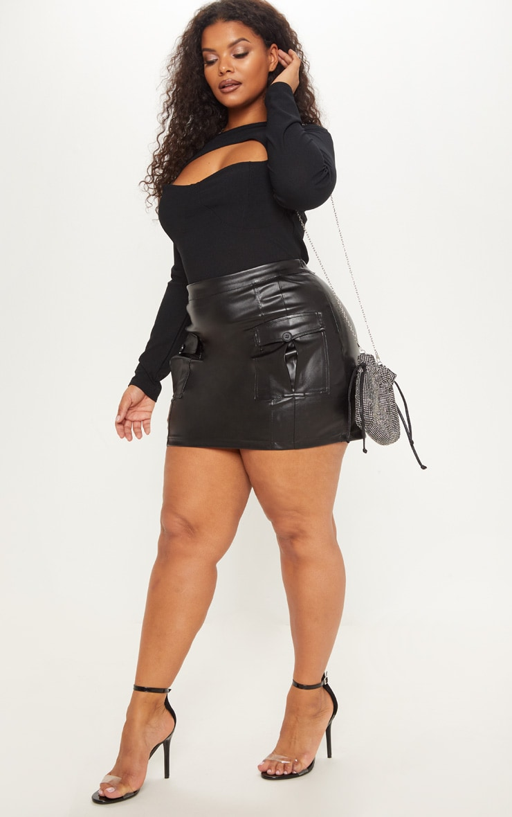 Plus Black Faux Leather Cargo Pocket Front Mini Skirt 5