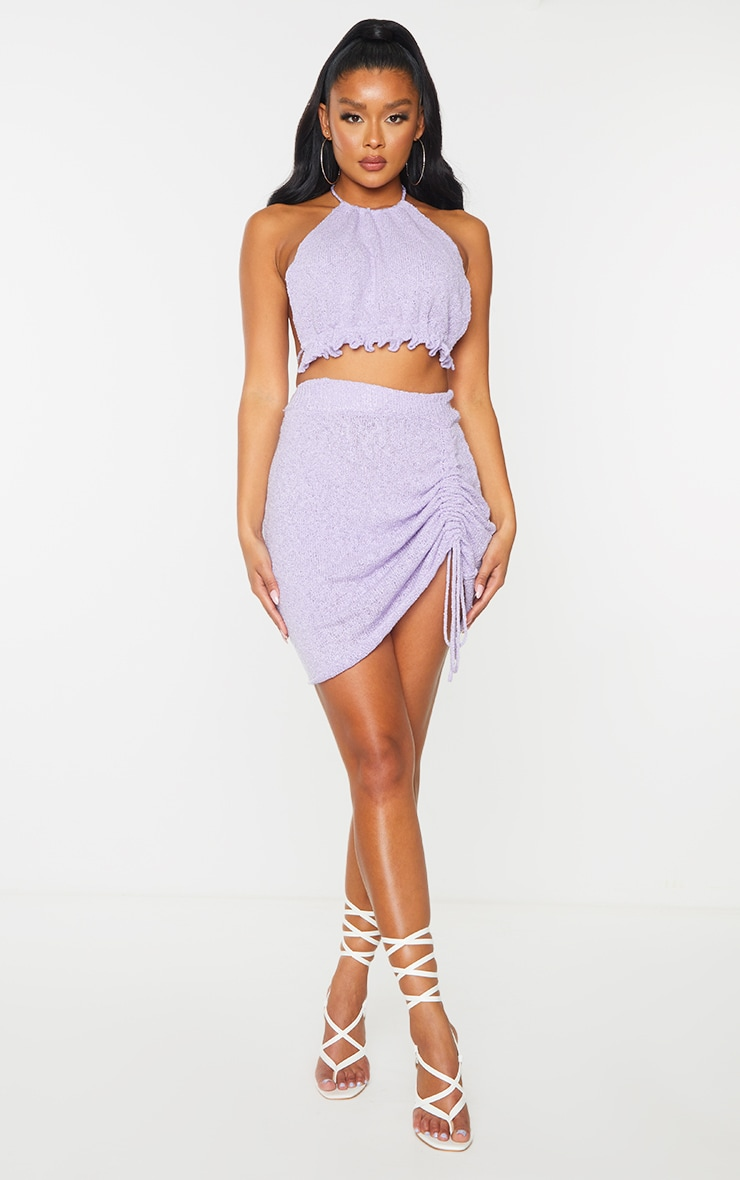 Lilac Ruched Halter Neck Tie Back  Knit Top 3