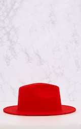 Tomato Red Felt Fedora Hat 4