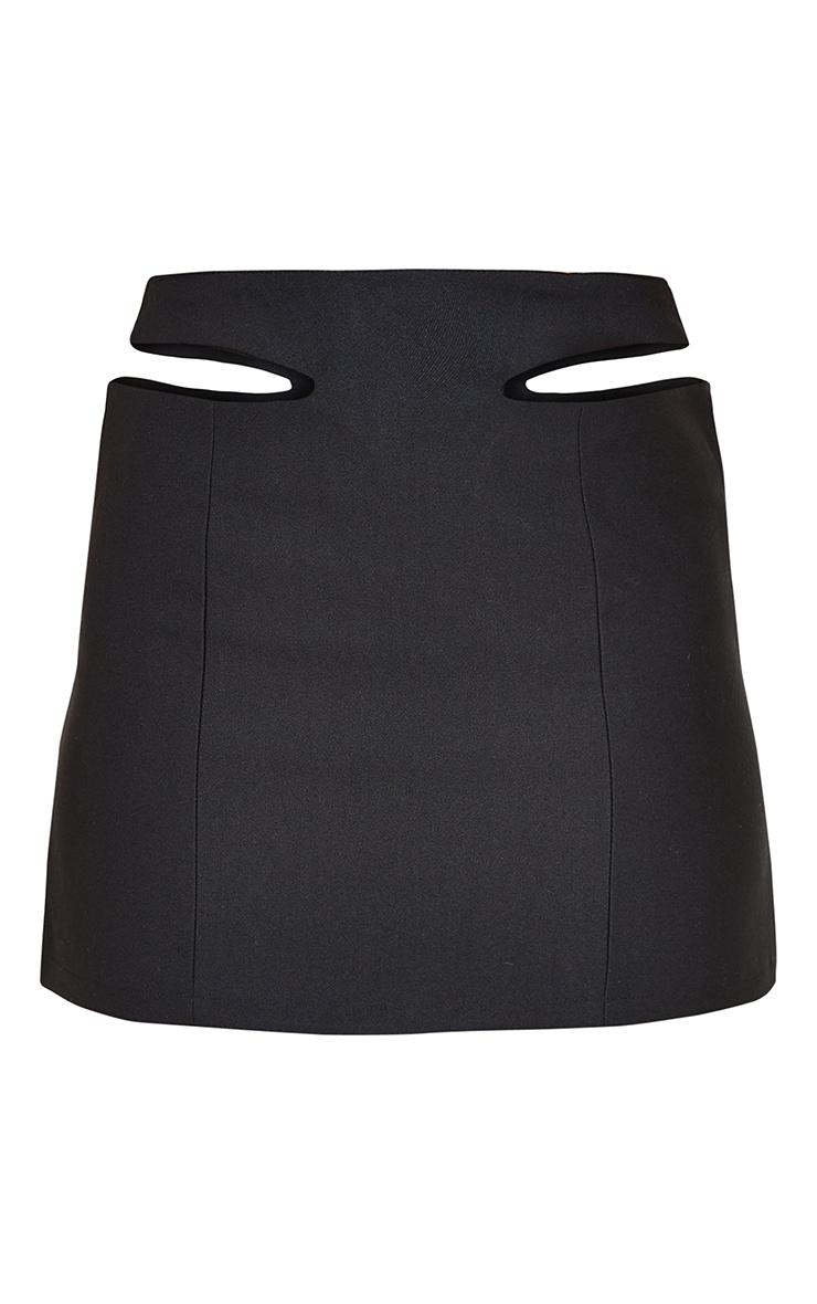 Black Woven Cut Out Mini Skirt 6