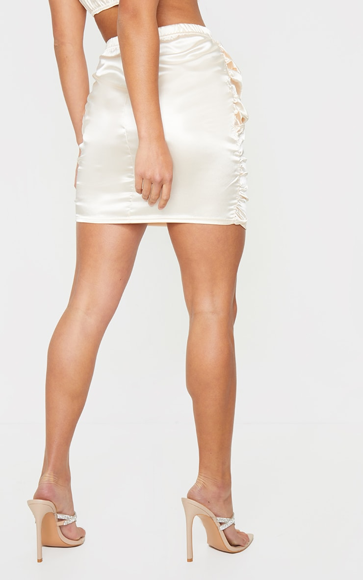Petite Champagne Satin Ruched Skirt 3
