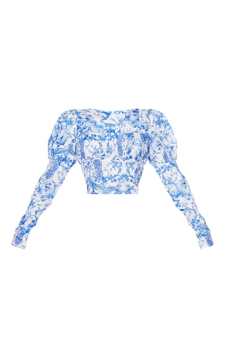 Blue Ornate Porcelain Puff Sleeve Detail Crop Top 6