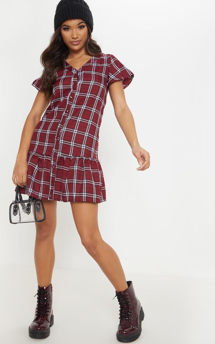 Red Check Button Through Smock Dress 4