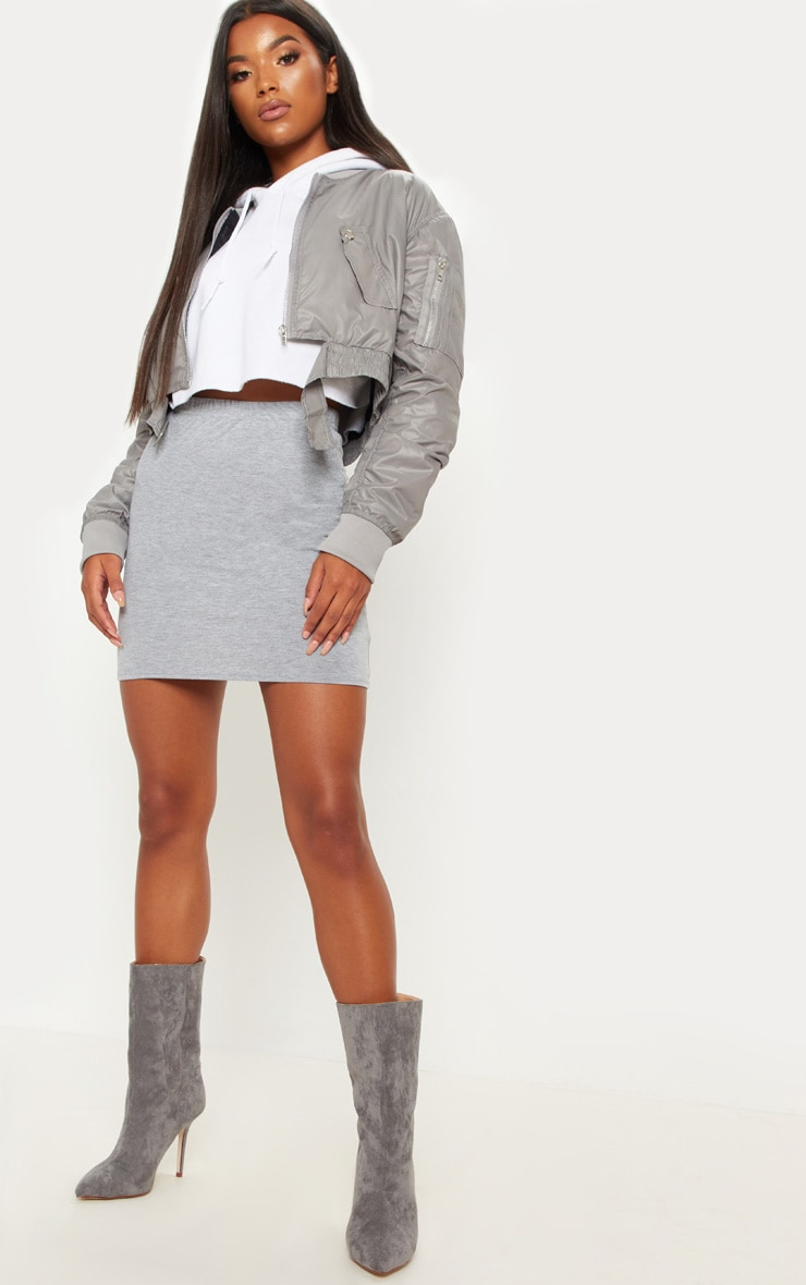 Grey Basic Jersey Mini Skirt 5