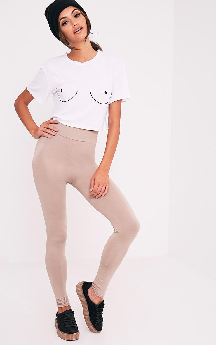 Boob Slogan White Cropped T Shirt 5