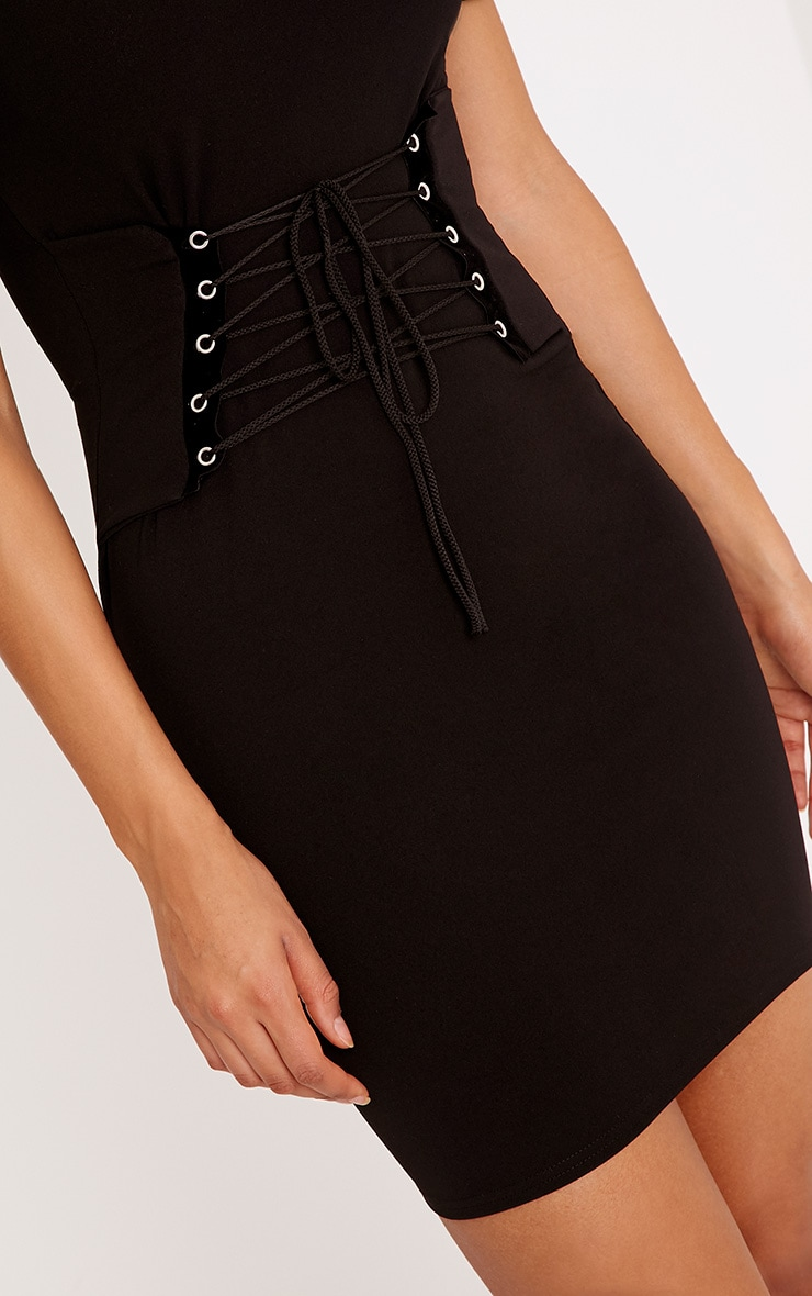 Bryce Black Bardot corset Bodycon Dress 5