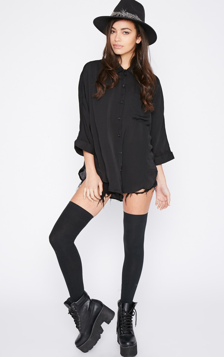 Melita Black Dip Hem Batwing Sleeve Shirt 3