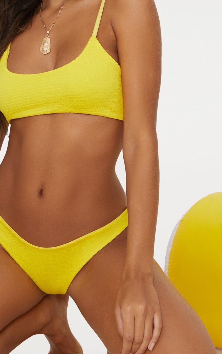 Yellow Crinkle V Front Bikini Bottom 5
